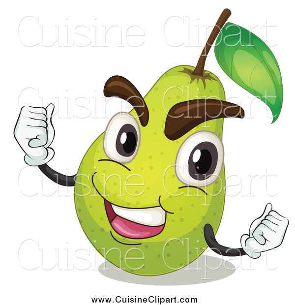 Cuisine Clipart of a Victorious Pear Cheering