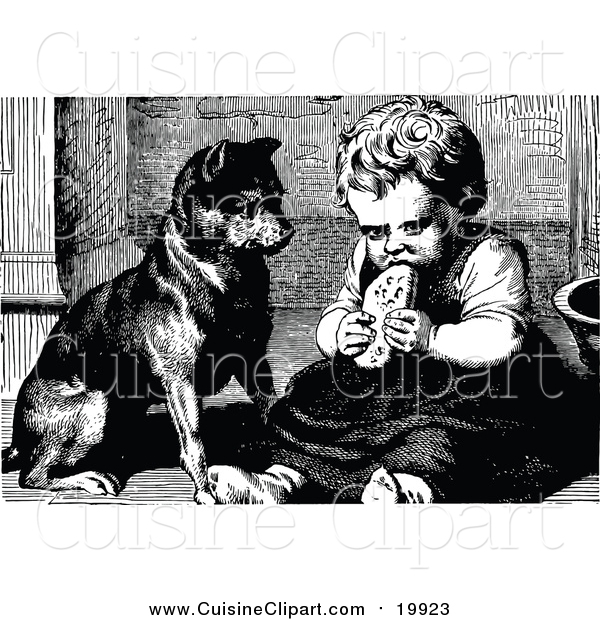 Cuisine Clipart of a Vintage Black and White Dog Watching a Girl Eat