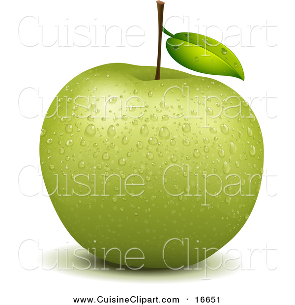 Cuisine Clipart of a Wet Green Apple