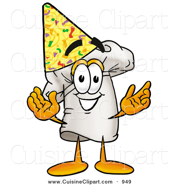 Cuisine Clipart of a White Chefs Hat Mascot Cartoon Character Wearing a Birthday Party Hat