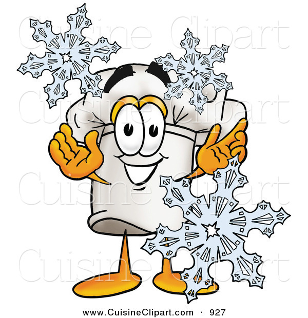 Cuisine Clipart of a White Chefs Hat Mascot Cartoon Character with Three Snowflakes in Winter