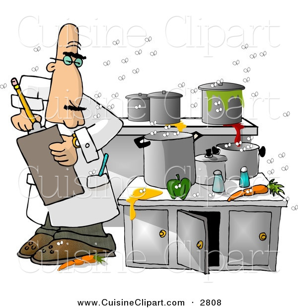 Cuisine Clipart of a White Food Health Inspector Inspecting a Dirty Kitchen at a Restaurant