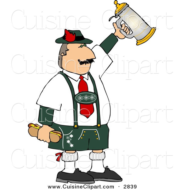 Cuisine Clipart of a White German Man Celebrating Oktoberfest with a Beer Stein and Hot Dogs
