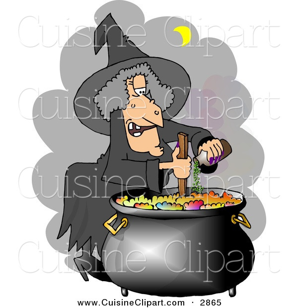 Cuisine Clipart of a White Had Witch Cooking a Potion in a Black Pot