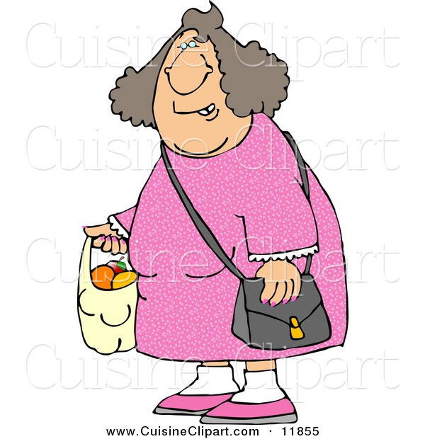 Cuisine Clipart of a Woman Carrying a Plastic Bag Full of Fruit to the Left