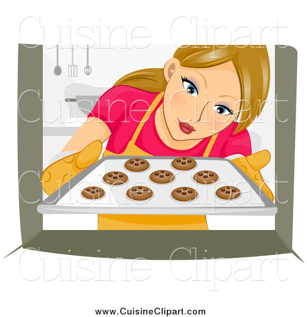 Cuisine Clipart of a Woman Pulling Cookies out of an Oven