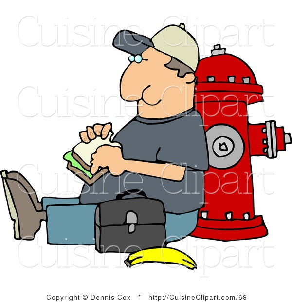 Cuisine Clipart of a Worker Man Eating His Lunch Outside Against a Fire Extinguisher