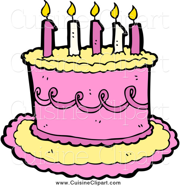 Cuisine Clipart of a Yellow and Pink Birthday Cake with Candles