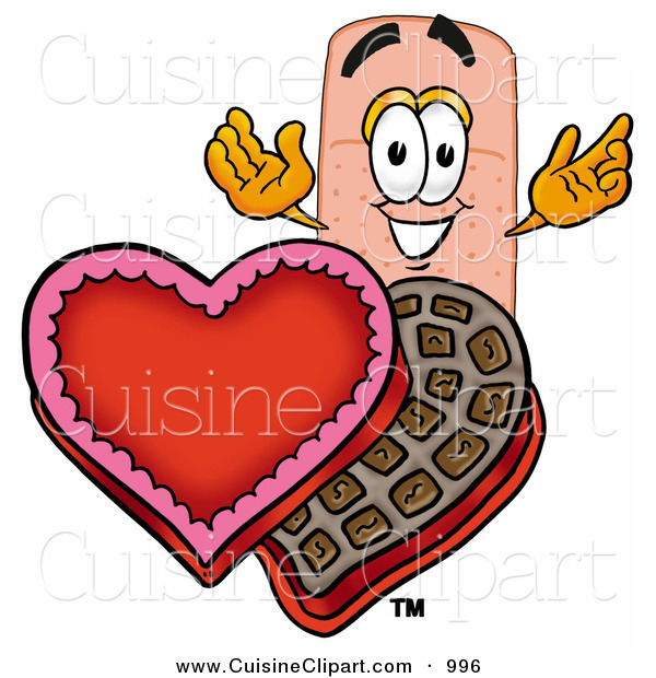 Cuisine Clipart of an Adhesive Bandaid Bandage Mascot Cartoon Character with an Open Box of Valentines Day Chocolate Candies