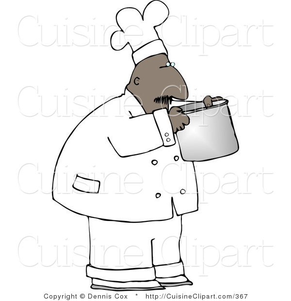 Cuisine Clipart of an African American Male Chef Smelling Food in a Cooking Pot