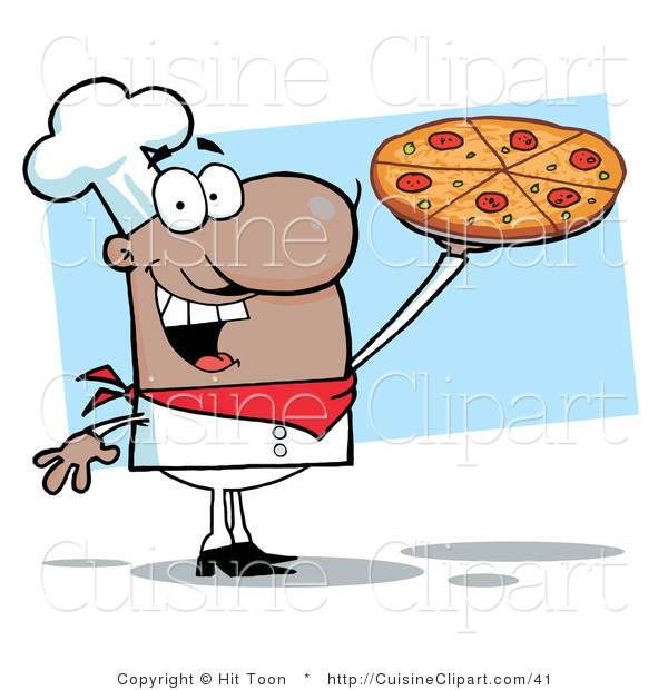Cuisine Clipart of an African American Pizza Chef