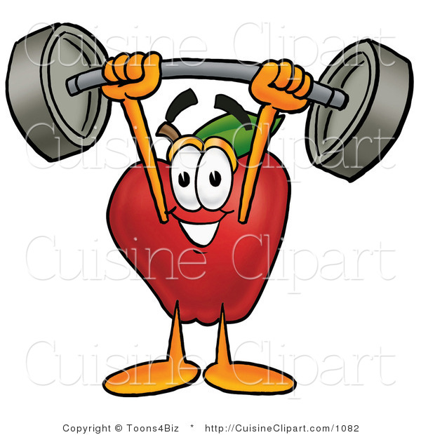 Cuisine Clipart of an Athletic Nutritious Red Apple Character Mascot Holding a Heavy Barbell Above His Head