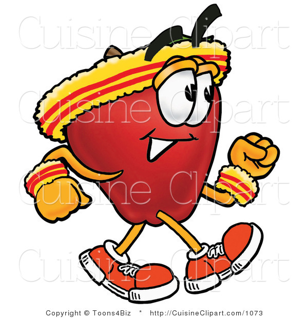 Cuisine Clipart of an Athletic Nutritious Red Apple Character Mascot Speed Walking or Jogging
