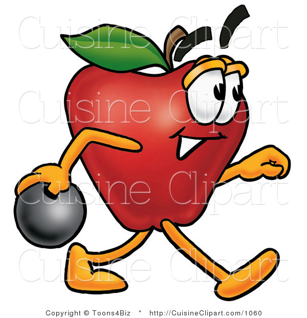 Cuisine Clipart of an Athletic Red Apple Character Mascot Holding a Bowling Ball