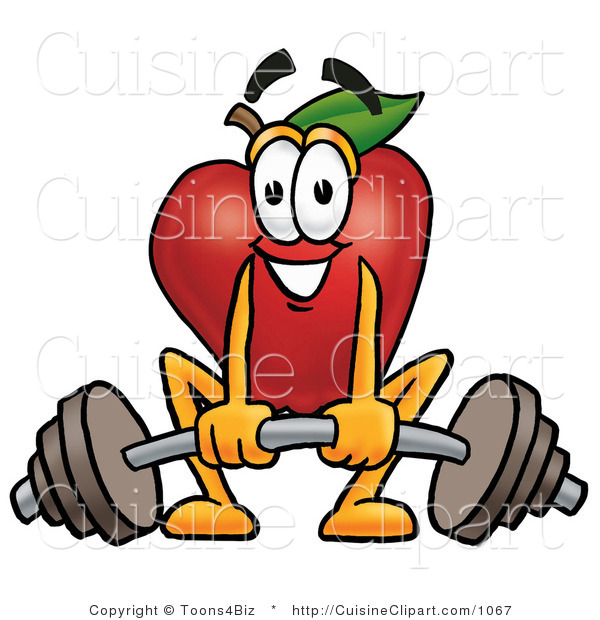 Cuisine Clipart of an Athletic Red Apple Character Mascot Lifting a Heavy Barbell
