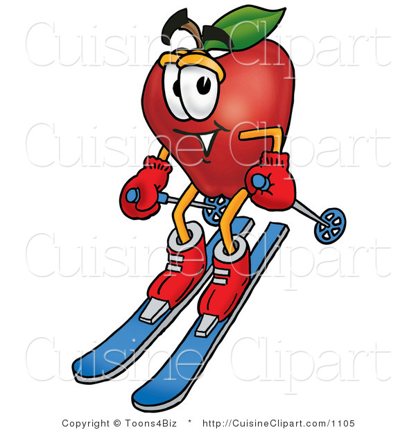 Cuisine Clipart of an Athletic Red Apple Character Mascot Skiing Downhill