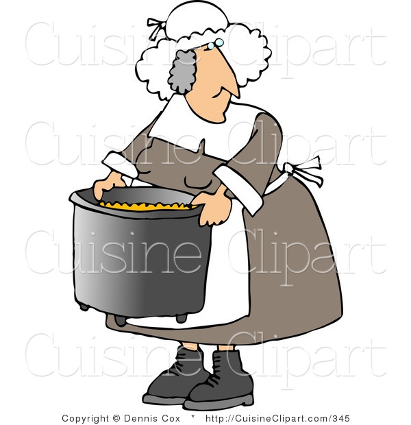 Cuisine Clipart of an Elderly Heavyset Pilgrim Woman Cooking with a Metal Kitchen Pot