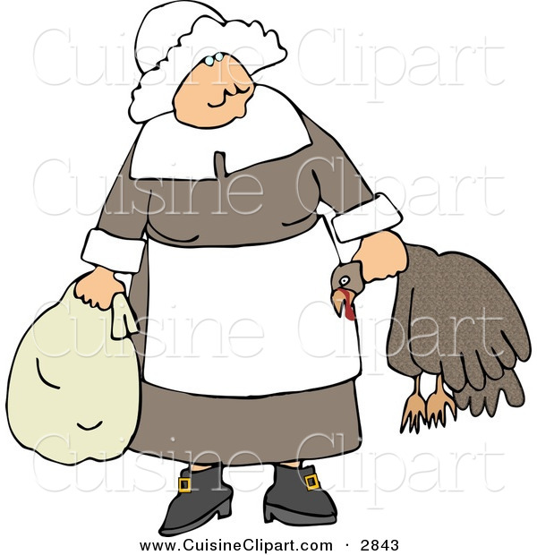 Cuisine Clipart of an Elderly Pilgrim Woman Carrying a Dead Turkey by Its Neck and Looking Forward
