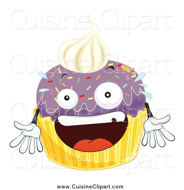 Cuisine Clipart of an Excited Purple Cupcake