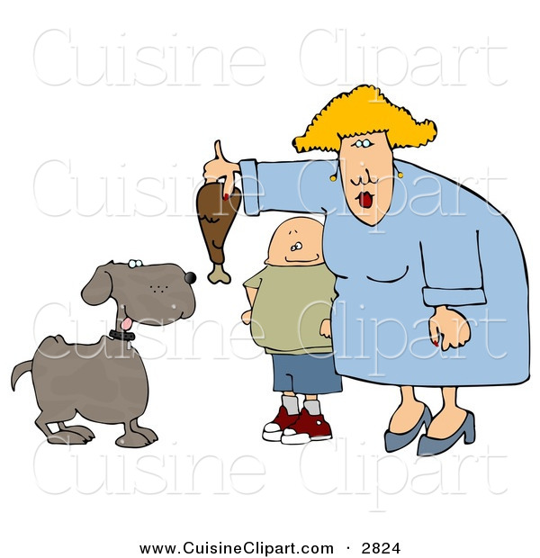 Cuisine Clipart of an Obese Boy Watching Mom Feed Pet Dog a Turkey Leg