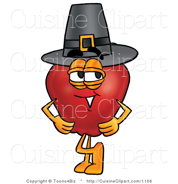Cuisine Clipart of an Old Fashioned Red Apple Character Mascot Wearing a Pilgrim Hat on Thanksgiving