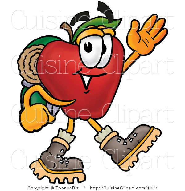 Cuisine Clipart of an Outdoorsy Red Apple Character Mascot Hiking and Carrying a Backpack