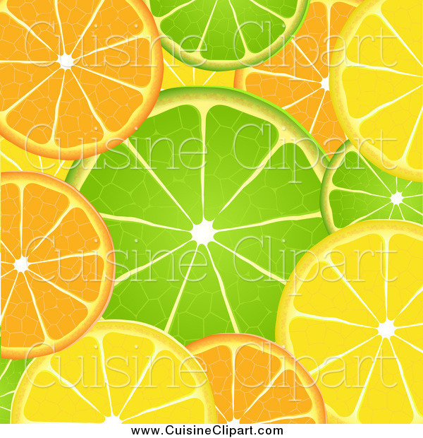 Cuisine Clipart of AOrange Lime and Lemon Background