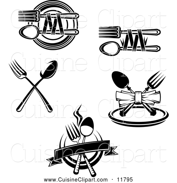 Cuisine Clipart of Black and White Dining and Restaurant Silverware Designs