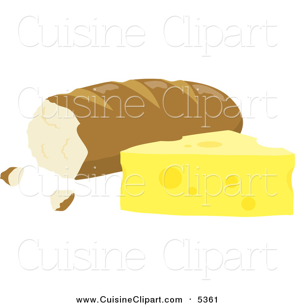 Cuisine Clipart of Bread Beside Cheese