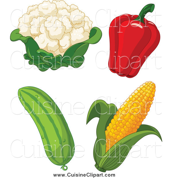 Cuisine Clipart of Cauliflower, Bell Pepper, Cucumber and Corn