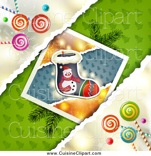 Cuisine Clipart of Christmas Candy with a Stocking Picture