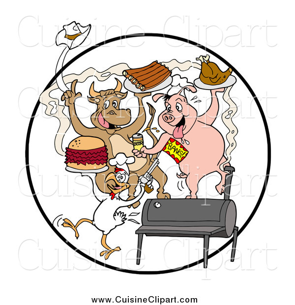 Cuisine Clipart of Cow, Pig and Chicken Dancing with Ribs Burgers and Poultry at a Bbq