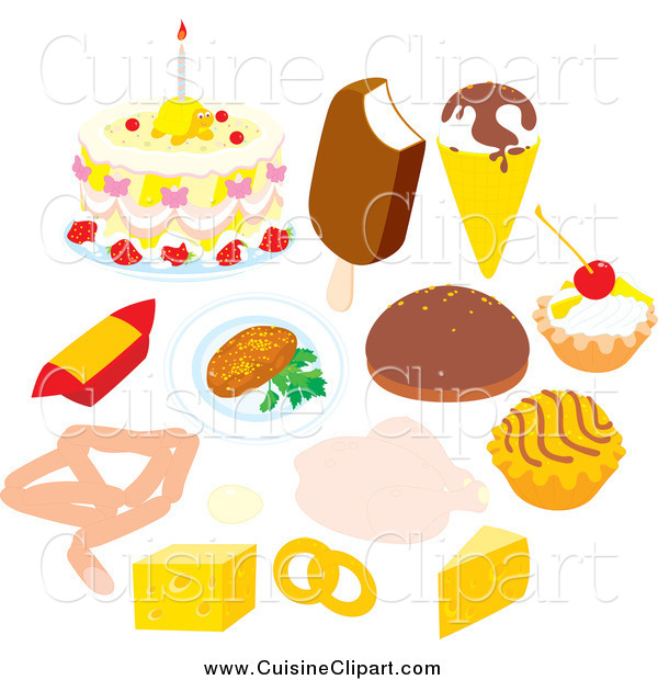 Cuisine Clipart of Desserts Dairy and Meat in a Circle