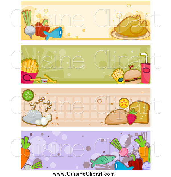 Cuisine Clipart of Four Food Banners