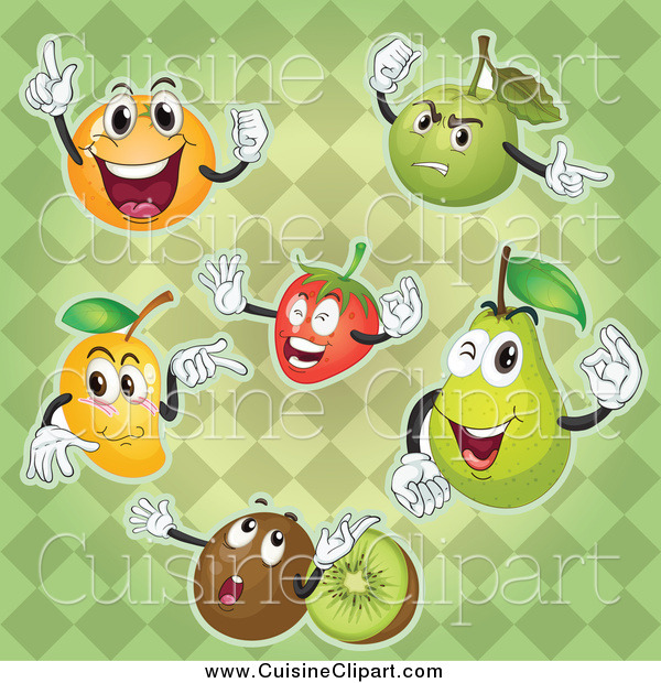 Cuisine Clipart of Fruit Characters on a Green Diamond Pattern