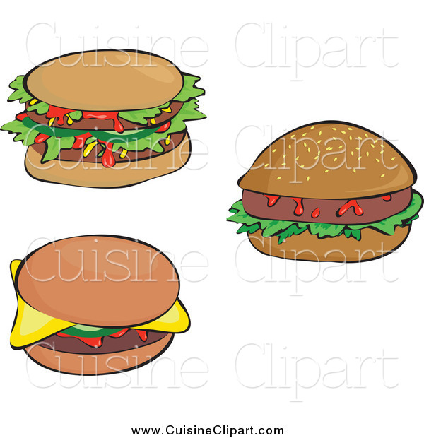 Cuisine Clipart of Sloppy Double and Single Hamburgers