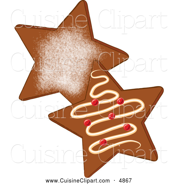 Cuisine Clipart of Star Shaped Gingerbread Christmas Cookies with Icing