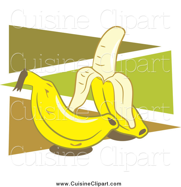 Cuisine Clipart of Two Bananas over Green and Brown Triangles