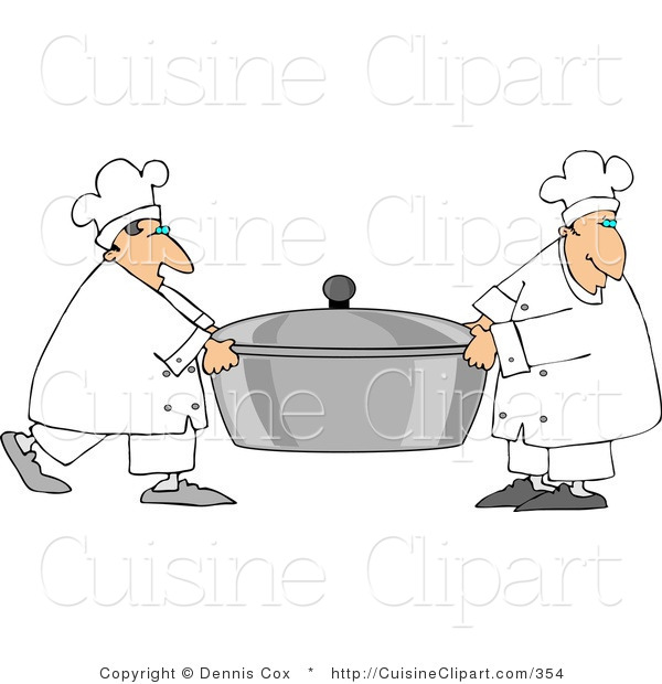 Cuisine Clipart of Two Cooks Carrying a Large Oversized Pot of Food