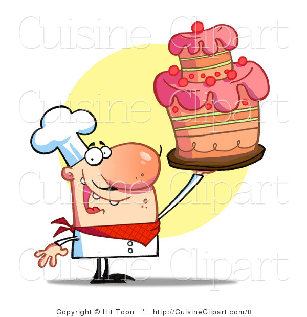 Cuisine Vector Clipart of a Baker Holding up a Cake