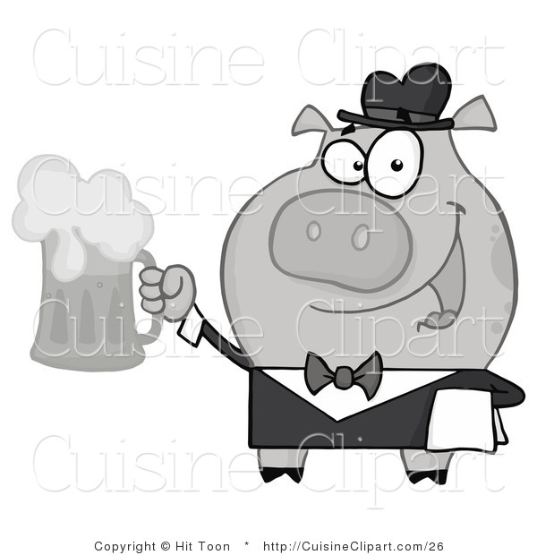 Cuisine Vector Clipart of a Black and White Waiter Swine Serving a Mug of Frothy Beer