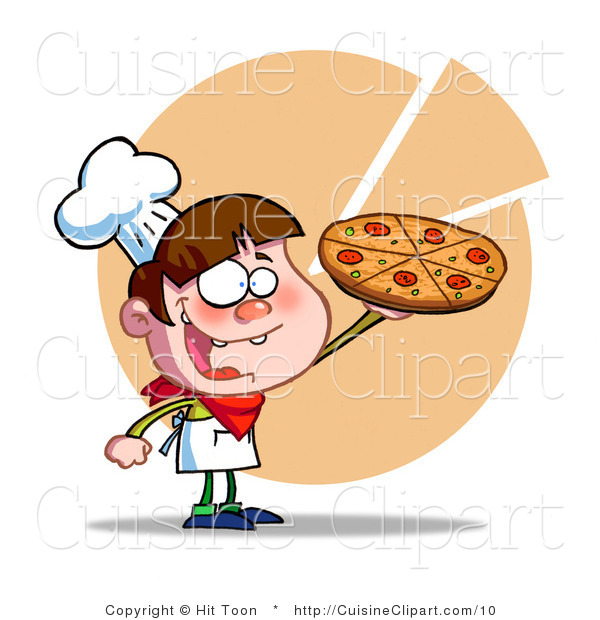 Cuisine Vector Clipart of a Boy Serving a Pizza Pie