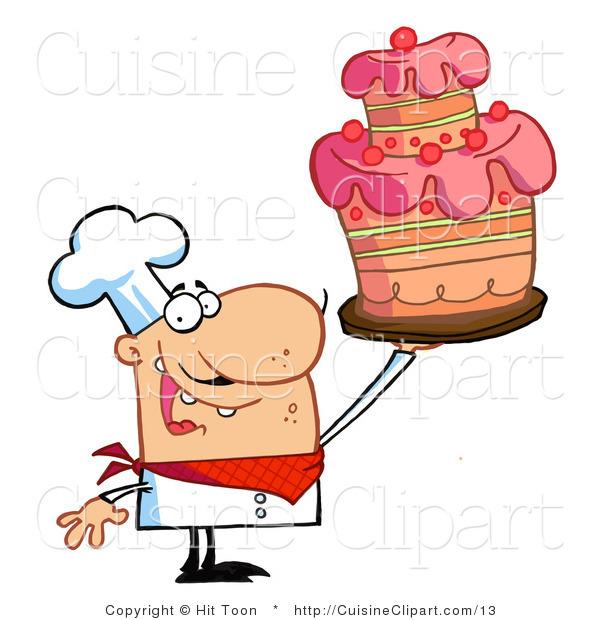 Cuisine Vector Clipart of a Chef Holding a Layered Cake