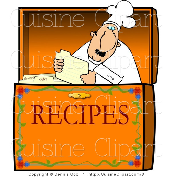 Cuisine Vector Clipart of a Chef Reading a Recipe in a Box