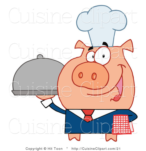 Cuisine Vector Clipart of a Chef Waiter Pig