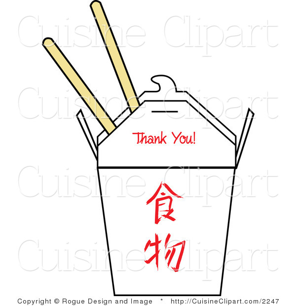 Cuisine Vector Clipart of a Chinese Chop Sticks and Carton