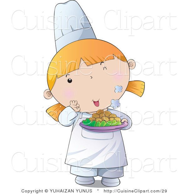 Cuisine vector clipart of a cute female chef girl holding for Art de cuisine plates