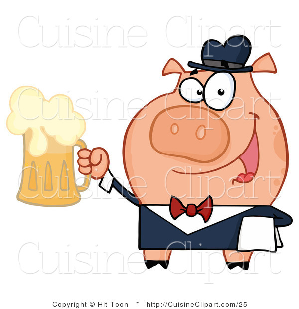 Cuisine Vector Clipart of a Friendly Pig Waiter Smiling and Serving a Mug of Frothy Beer