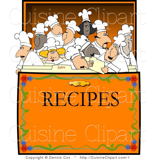 Cuisine Vector Clipart of a Group of Chef's Inside a Recipe Box