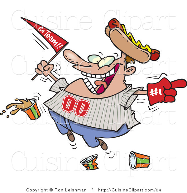 Cuisine Vector Clipart of a Happy Sports Fan Dropping Food